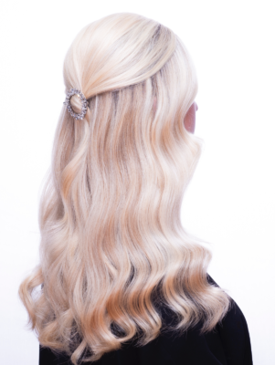Radiant Blonde Balayage highlight with Icy golden waves